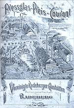 """Vereinigte Radeberger Glash�tten 1890"""